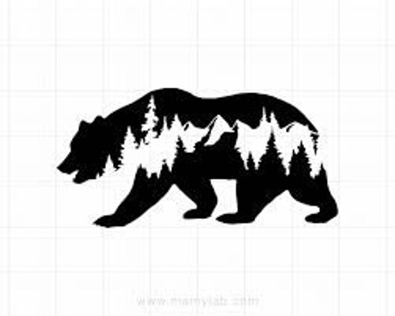 Bear and Mountains Decal - Sticker For Your Car Truck phone or Window Fuck It