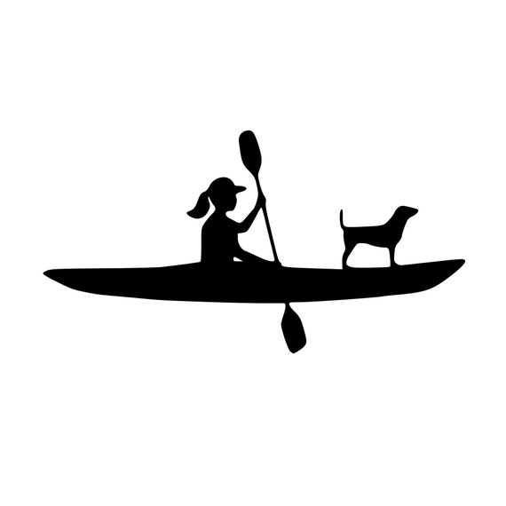 Kayak with Dog or without Dog | Kayak Decal | Paddle with Dog | Most Breeds | Customizable with your Dog