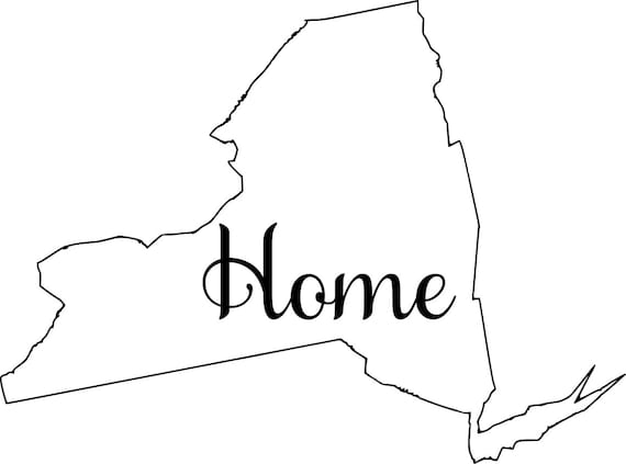 New york with or without Home Map Decal Sticker for your car truck suv van wall phone window rv trailer state