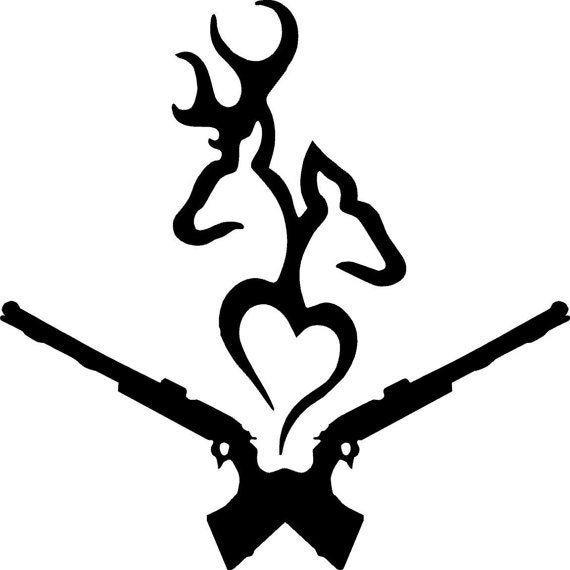 Huntind Love and Guns Deer Decal - Sticker For Your Car Truck Window wall phone tablet