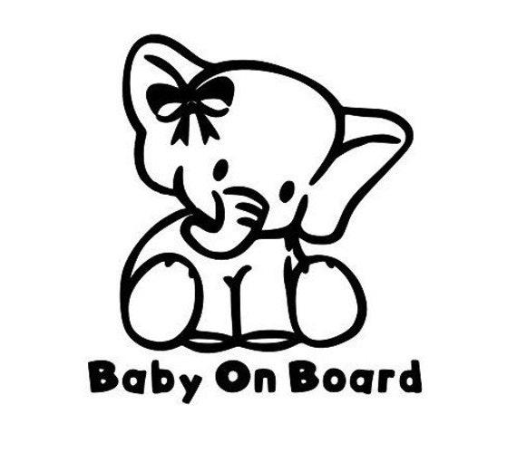 Baby On Board Elephant Decal Sticker for your truck suv minivan van window bumper