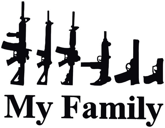 My Gun Family Decal Sticker For Your Car Truck SUV Van Phone Wall Home Security Protection Alarm Sign Trump Trudeau Fuck Gun Control