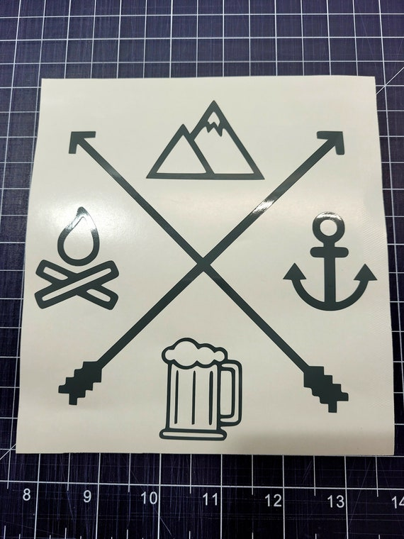 Camping Mountains Beer And Boating Decal - Sticker For Your Car Truck phone or Window