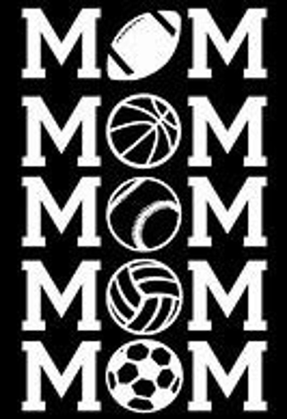 Sports Mom Pick Your Sport Decal Sticker Football Basketball Tennis Volleyball Soccer for your car truck suv van phone tablet window bumper