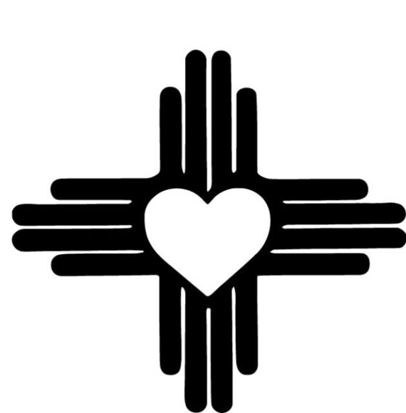 Zia Icon with heart Any Color Any Size New Mexico State Zia Pueblo Sun Symbol Weatherproof Window Transfer Vinyl Decal
