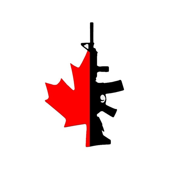 Canadian Flag with Gun Decal - Sticker For Your Car Truck Window wall phone tablet Fuck Gun Control Justin Trudeau Canada