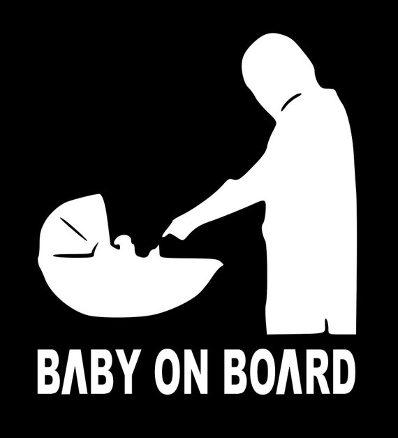 Baby On Board Decal Sticker for your car truck Van RV Infant Newborn Tiny Human yoda