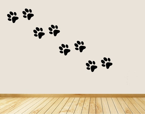 Dog Paw Prints Wall Decal Paws Decor Room Kids Bedroom Decoration
