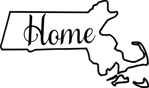 Massachusetts with or without Home Map Decal Sticker for your car truck suv van wall phone window rv trailer state