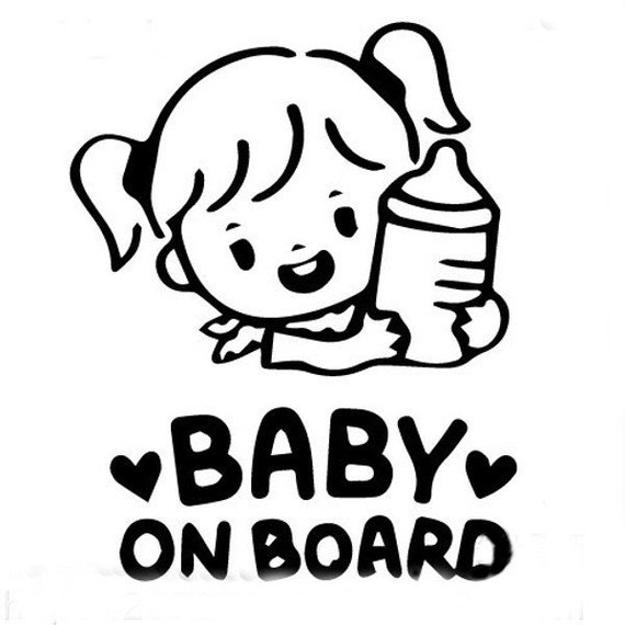 Baby Girl On Board Decal for your car truck suv van window or bumper newborn in car