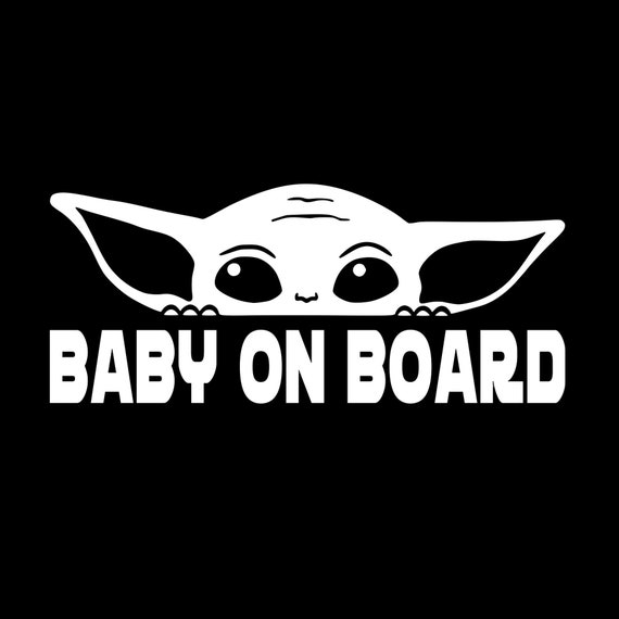 Baby On Board Baby Alien Peeking Decal for your car truck suv van phone wall mandalorian yoda