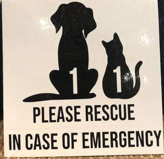 In Case Of Emergency Please Rescue Pets Decal Sticker for your car truck suv van wall phone window cat dog bird snakes hamster