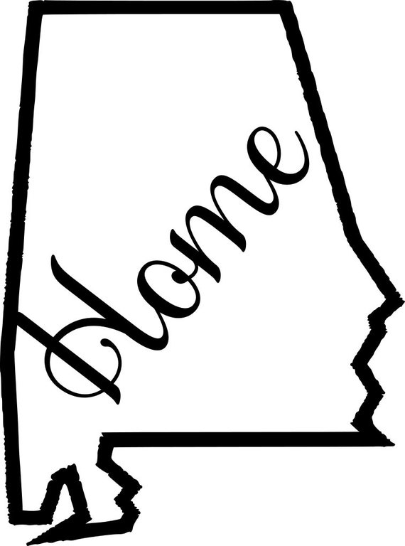 Alabama Home Map Decal Sticker for your car truck suv van wall phone window rv trailer state