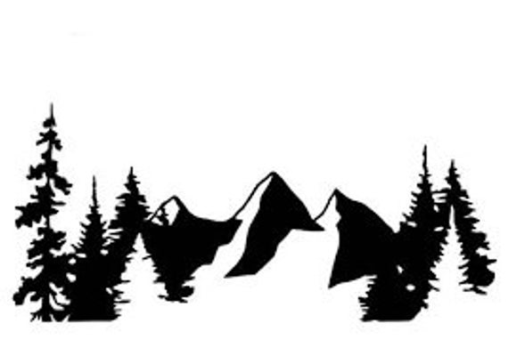 Mountains and trees outdoors in the wild Decal Sticker for your car truck suv van wall phone window rv motorhome trailer camping camper