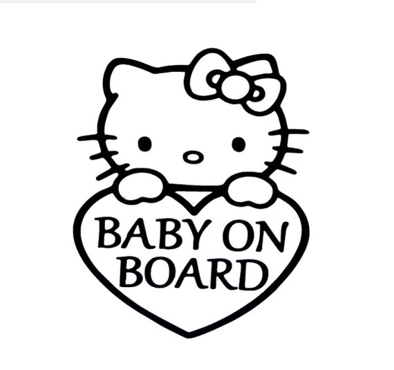 Kitty Baby On Board Footprints Decal - Sticker For Your Car Truck phone or Window