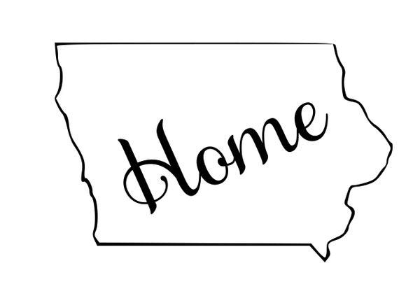 Iowa with or without Home Map Decal Sticker for your car truck suv van wall phone window rv trailer state