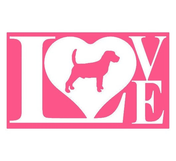 Love My Beagle Dog Decal - Sticker For Your Car Truck Window wall phone tablet