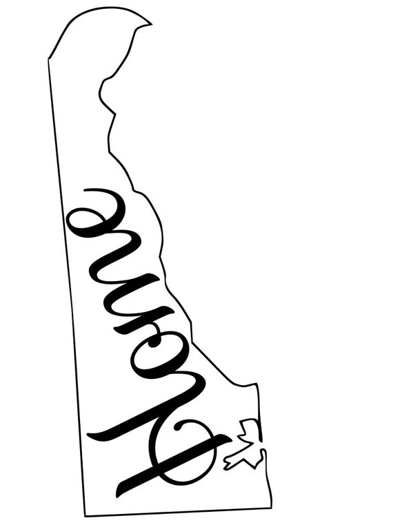 Delaware with or without Home Map Decal Sticker for your car truck suv van wall phone window rv trailer state
