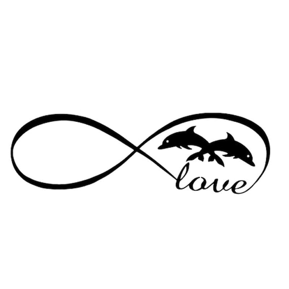 Love Dolphins Infinity Symbol Decal Sticker for your car truck suv van wall phone window