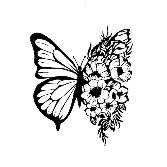 Floral Butterfly Decal Sticker for your car truck suv van window or bumper phone wall new car flowers