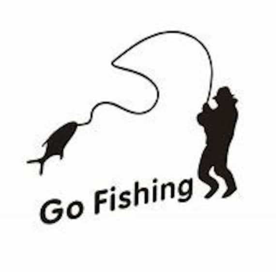 Go Fishing Decal Sticker for your car truck suv phone tablet window bumper
