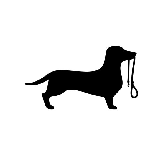 Dachshund With A Leash Decal for your car truck wall phone - Great gift for a Dog Lover
