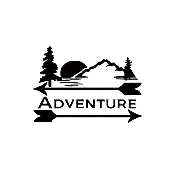 Adventure Outdoors Camping Mountains Trees Decal - Sticker For Your Car Truck Window wall phone tablet