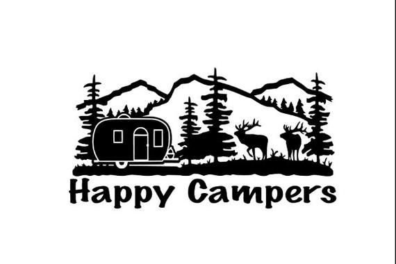Happy Camper Decal - Sticker For Your Car Truck Window wall phone tablet peace