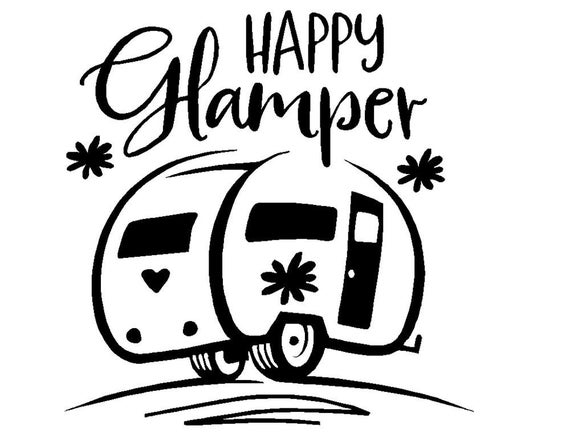 Happy Glamper Camper Decal - Sticker For Your Car Truck Window wall phone tablet peace