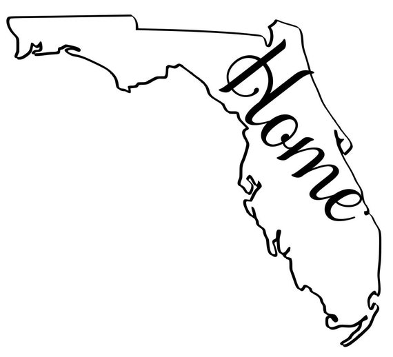 Florida with or without Home Map Decal Sticker for your car truck suv van wall phone window rv trailer state