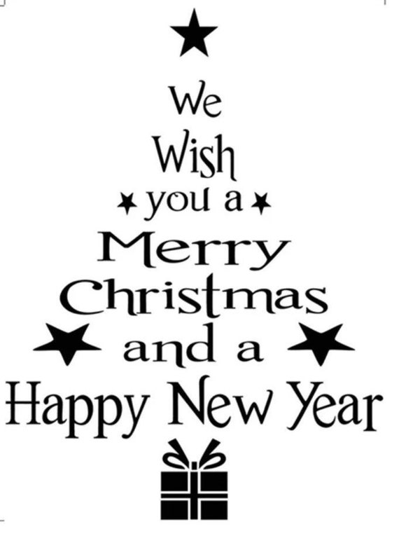 We Wish You A Merry Christmas And A Happy New Year  Decal Sticker for your home front door car truck suv minivan van window bumper