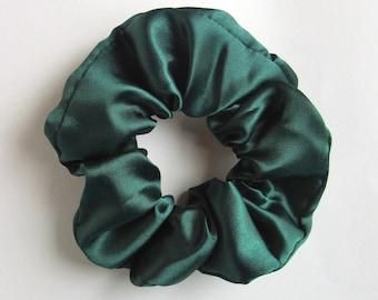 Dark Bottle Green Satin Hair Scrunchie