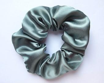 Blue Grey Satin Hair Scrunchie