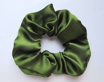 Khaki Green Satin Hair Scrunchie