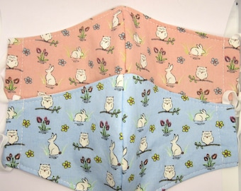 Rabbit and owl print cotton face masks / face covering adult triple layered reusable adjustable elastic - blue, pink - Spring, Summer