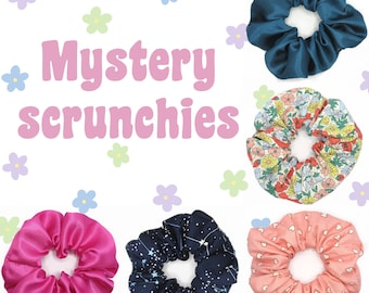 Mystery Hair Scrunchie Box - Set of 1, 2, 3, 5, 8, or 10 - discount bundle - satin, floral, bright, pastel