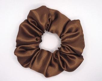 Chocolate Brown Satin Hair Scrunchie