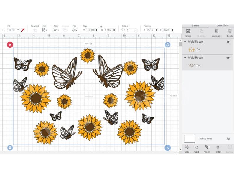 Download Sunflower Butterfly Starbucks cup svg Sunflower svg | Etsy