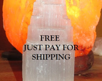 """1 Free  Selenite Towers Small  2.25""""  Natural Carved reiki Healing Just Pay for Shipping"""