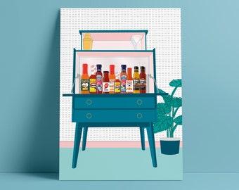 Hot Sauce Mid-Century Modern Drinks Cabinet Art Print - A4/A3 sizes