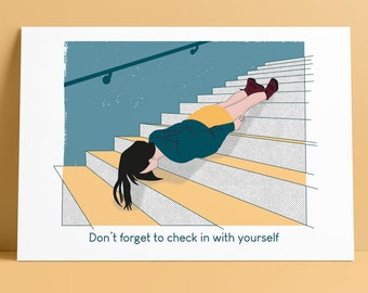 Don't Forget To Check In Art Print - Funny Inspirational/Motivational/Positivity Quirky Mental Health Illustration Wall Poster - A4