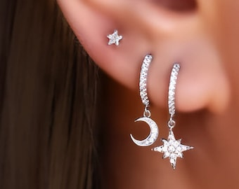 crescent moon earrings moon and star studs Crescent Moon and Star stud earrings in Sterling Silver Moon earrings