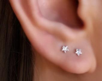Tiny star rhinestone beaded dangle earrings Pretty Cool Valentines gift Fancy Gold Star drop Earrings Simple modern Astronomical jewelry