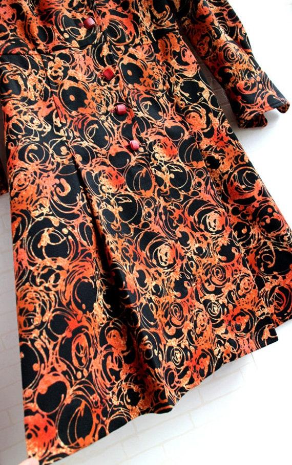 Japanese Orange And Black Pattern 60s Collar Japa… - image 6