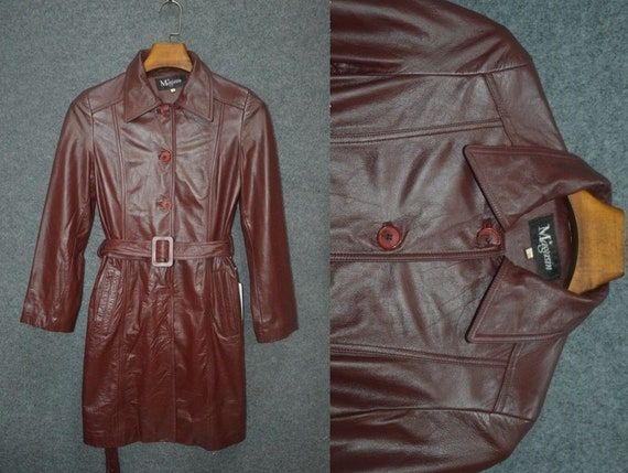 Red Vintage 70s Leather Women's Leather Trench Coa
