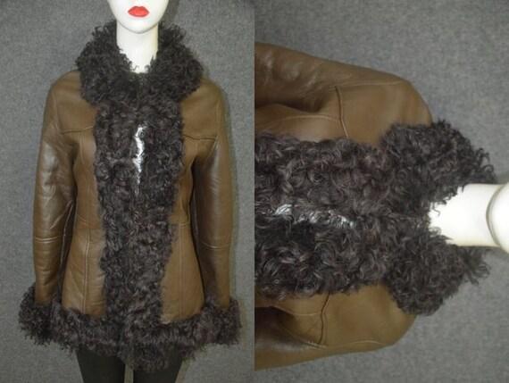 Vintage Hippie Boho Afghan Fur Brown  Sheepskin Le