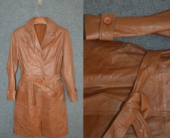 Orange Brown Vintage 70s Leather Women's Leather T
