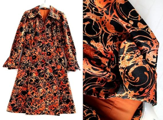 Japanese Orange And Black Pattern 60s Collar Japan