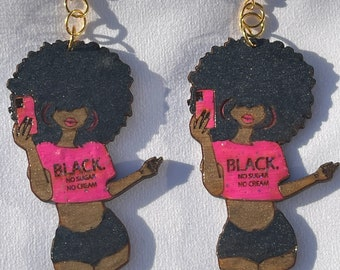 Black, No Sugar Afro Woman Pink Afrocentric Earrings