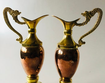 Pair Vintage Ornate Brass and Copper Pitchers